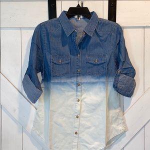 Blue Ombre button down denim shirt